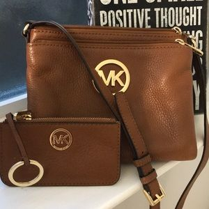 MK light brown cross body and coin purse